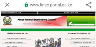 The KNEC portal used for registering candidates for exams and uploading project marks,