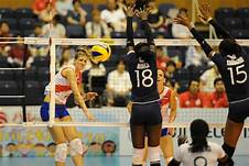 Kenya's women volleyball team, Malkia strikers, in action against Serbia