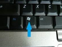 Location of the windows button on the computer keyboard