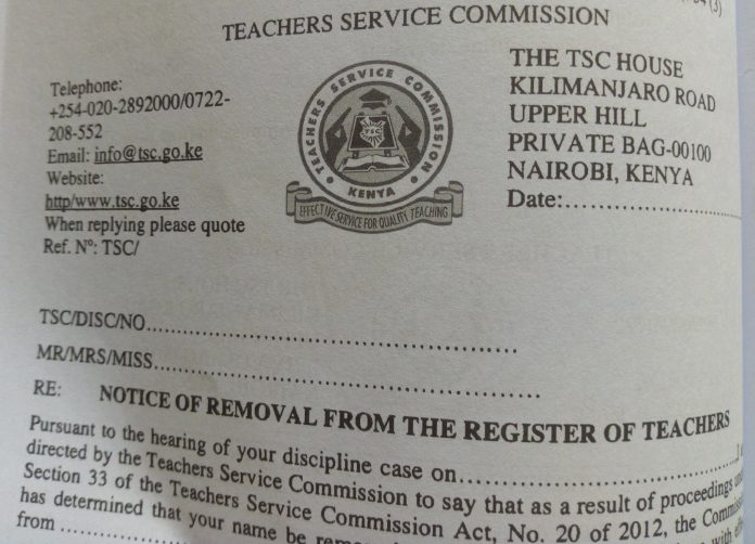 TSC NOTICE OF REMOVAL FROM THE REGISTER OF TEACHERS