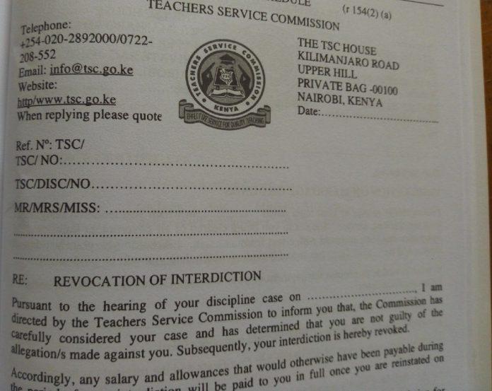 TSC REVOCATION OF INTERDICTION