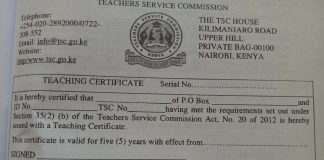 TSC Registration Certificate and TSC Number New Guidelines