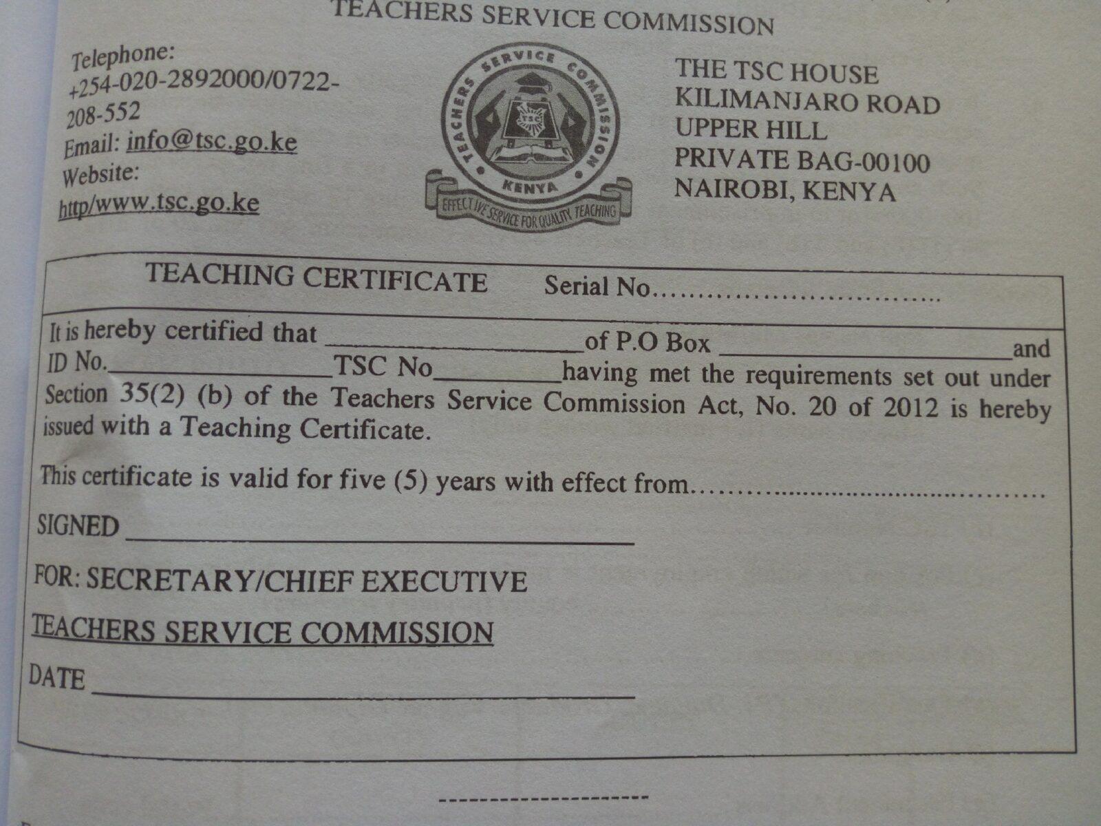 Tsc Teaching Certificate Newsblaze