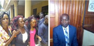 mother to slain university student Sharon Otieno, left, and Okoth Obado, right