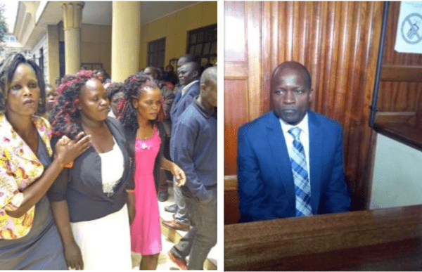 mother to slain university student Sharon Otieno, left, and Okoth Obado, right