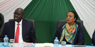 Education CS, Amina Mohammed, with her Principal secretary, Dr. Belio Kipsang