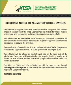 NTSA: How to acquire an E- Sticker