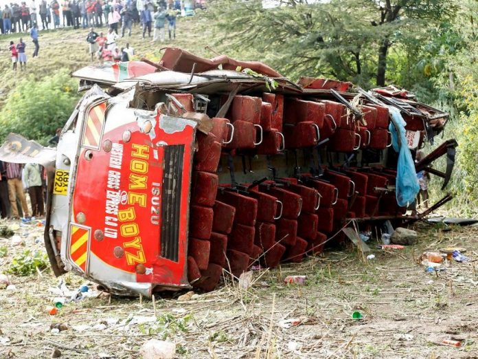 The mangled bus wreckage