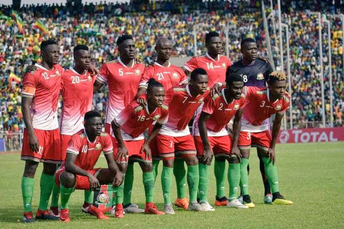 File photo: Harambee Stars pose for a group photo before a playing at a past match