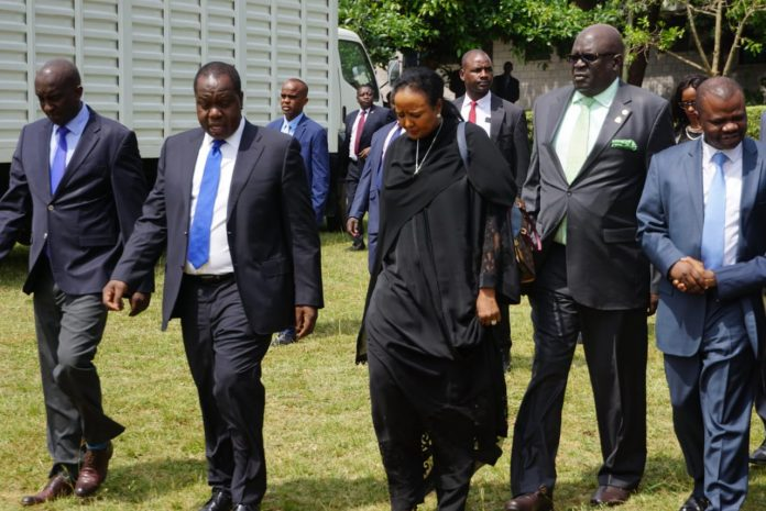 Interior CS Matiang'i (Left), Education CS Amina (Centre) and KNEC Chair, Magoha (Right) walking to a past meeting on exams preparations. KNEC has announced a decision to cancel results for 3,427 candidates who sat the 2018 KCSE examinations.