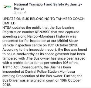 NTSA Update on the bus