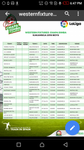 Fixtures for this Weekend's matches