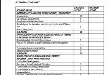 TSC Headship score sheet