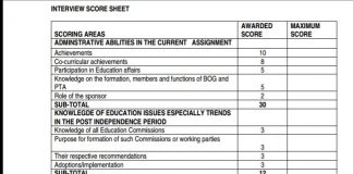 TSC Headship score sheet