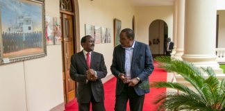 President uhuru kenyatta with Wiper leader, Kalonzo musyoka, at state house today