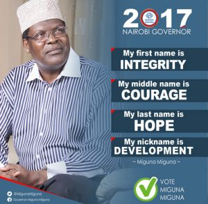 Miguna Miguna vied for the Nairobi gubernatorial seat in 2017