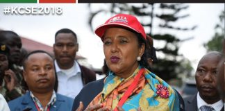 Education CS, Dr. Amina Mohammed, during a KCSE administration Exercise 2018. She says her Ministry will come up with a policy to curb the increasing teenage pregnancies.