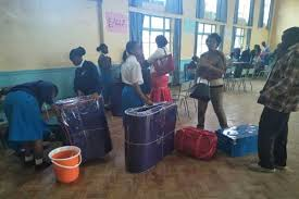 File Photo- Form ones report to school. The over one million 2018 KCPE candidates are expected to get places in form one as the Ministry of Education Launches the form one selection exercise next week