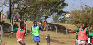 Girls in a past Chapa Dimba clash. The Western Region Finals will be played at Bhukungu Stadium, this weekend