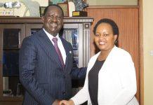 Hon Raila and Governor Waiguru in a handshake, today