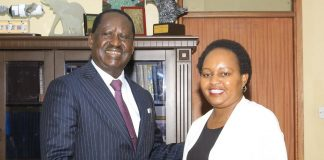 Hon Raila and Governor Waiguru in a handshake, today