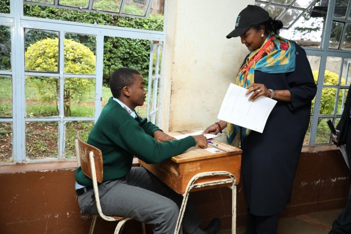 Education CS, Dr. Amina Mohammed, supervises KCSE exams at Murang'a Boys Secondary earlier today