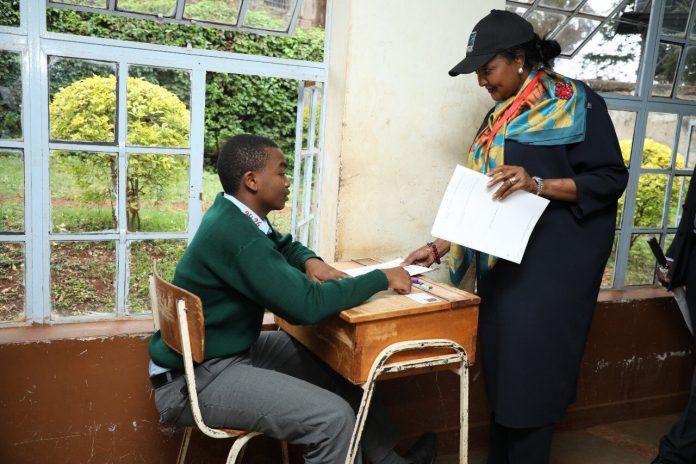 Education CS, Dr. Amina Mohammed, supervises KCSE exams at Murang'a Boys Secondary earlier today