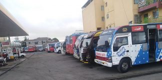 Public Service Vehicles packed in Nairobi this morning for fear of the traffic rules crackdown