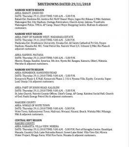 Kenya power' scheduled power interruption for 29th November 2018.