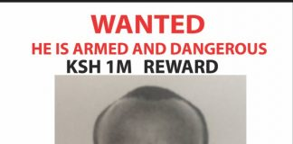 Ibrahim Adan Omar, one of the suspects being sought by the police. The police have pledged a Ksh. one Million cash prize for anyone with information on the Whereabouts of the suspects