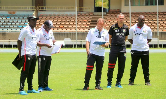 Kenya's Soccer Under 23 Technical Bench at Kasarani on Sunday