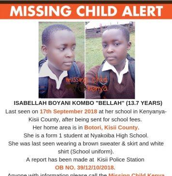 Missing Child-Isabellah Boyani