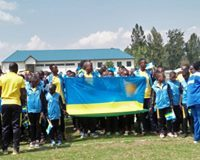 Rwanda's participants and officials during a match past at the opening ceremony of the 2018 FEASSSA games. Rwanda hosted this year's games at Musanze City.