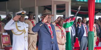 Photo (Courtesy of the Presidency)- President Kenyatta during the Scouting Meet yesterday. A section of Kenyans want the president to abandon the Ambira High School boys who were arrested for abusing government officials