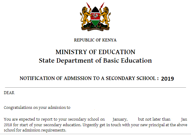 2019 form one admission letter