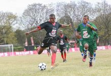 Kenya's representatives at this year's inaugural Copa coca cola Africa Soccer championship, St. Anthony's Boys- Kitale in black kits, in action against Ethiopia today. Kenya won 11-1