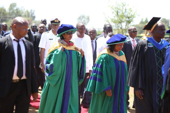 Education Cabinet Secretary, Dr Amina Mohammed, arrives at Jaramogi Oginga Odinga University of Science and Technology during the university's 6th graduation ceremony yesterday. The CS has said Gender desks will be introduced in all schools to ensure safety of learners