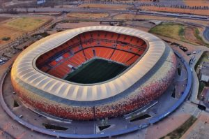 Aerial view of a soccer Stadium in South Africa. CAF may grant South Africa hosting rights for AFCON finals next year, 2019