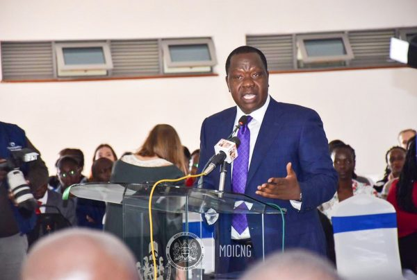 Interior Cabinet Secretary, Dr Fred matiang'i, when he launched the Kenya Institute of Migration Studies at the University of Nairobi, today