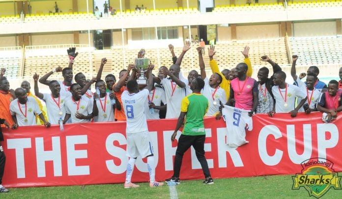 Kariobangi Sharks' players celebrate after winning the KPL super cup. Kariobangi defeated Gor mahia by a solitary goal to lift the trophy