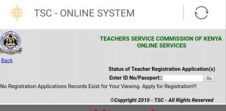 TSC Online portal for checking registration status