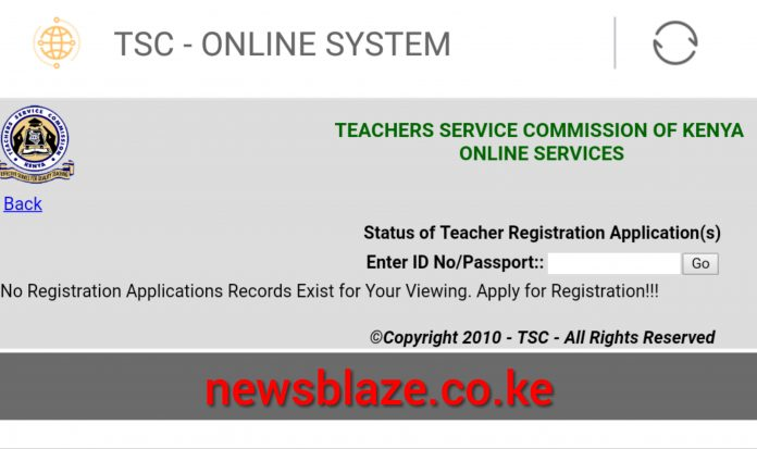 TSC Online portal for checking registration status