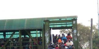 Photo- Nairobians trekking to work this morning.