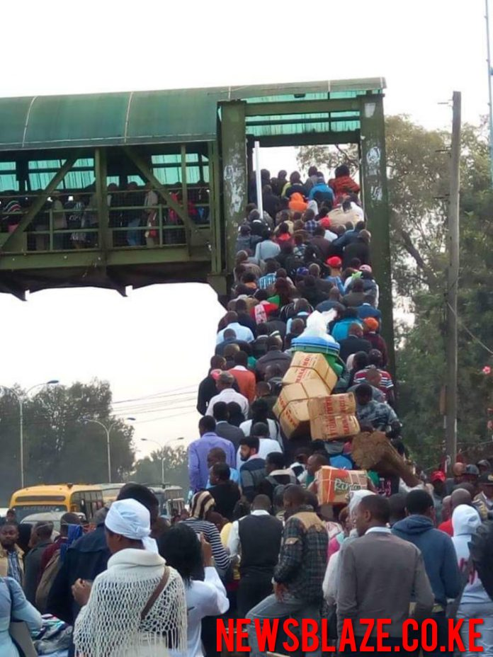 Photo- Nairobians trekking to work this morning.