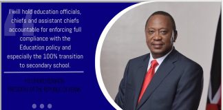 President Uhuru Kenyatta has told all Education officials, Chiefs and their assistants to ensure all form ones report to schools in January next year