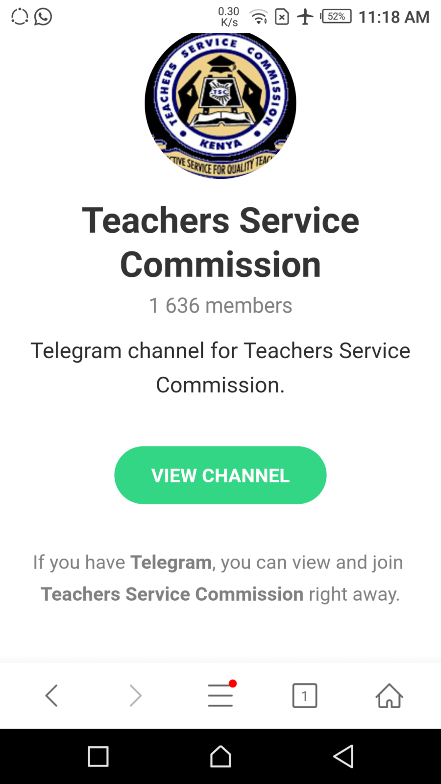 Teachers Service commission's , TSC, official Telegram and Twitter