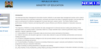 The Ministry of Education's NEMIS portal Log in Screen.