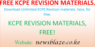 Free KCPE revision materials, past paper questions and answers