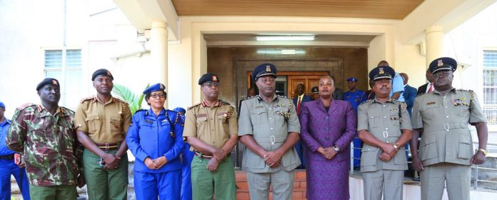 The newly appointed Regional Police Commanders, From left: Mr Paul Soi, Dr. Vincent Makokha, Ms. Eunice Kihiko, Mr Rashid Yakub, Mr Philip Ndolo, Ms Judy Lamet, Mr Edward Mwamburi, Mr Marcus Ocholla