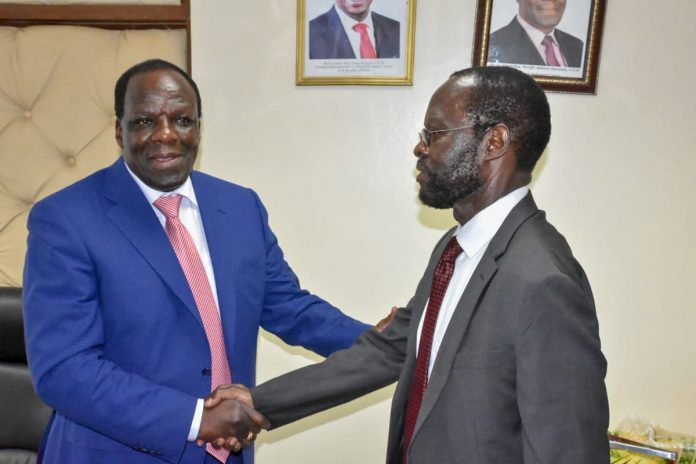 Kakamega governor, Wycliffe Oparanya- Left, with his Kisumu County counterpart, Anyang' Nyong'o. Oparanya has been elected the new chair to the Council of Governors